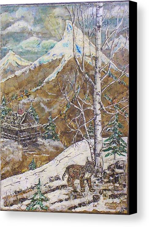 Snow Scene Canvas Print featuring the painting Unexpected Guest I by Phyllis Mae Richardson Fisher
