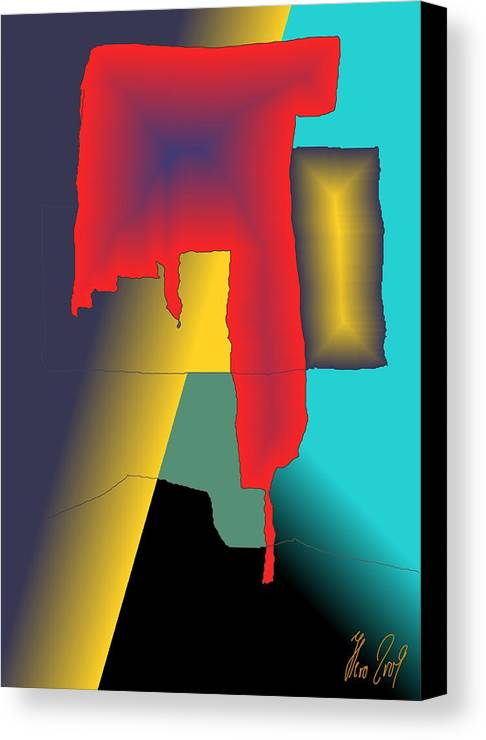 Red Canvas Print featuring the digital art Unexpected- Red by Helmut Rottler