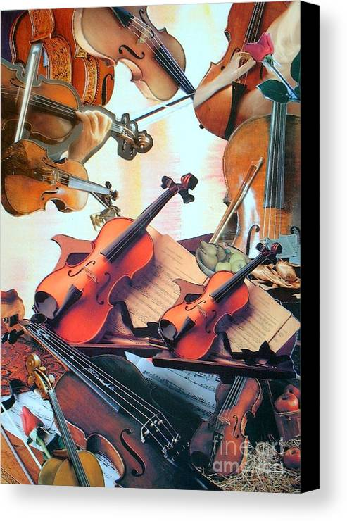 Music Canvas Print featuring the mixed media Violin Concierto by Judith Espinoza
