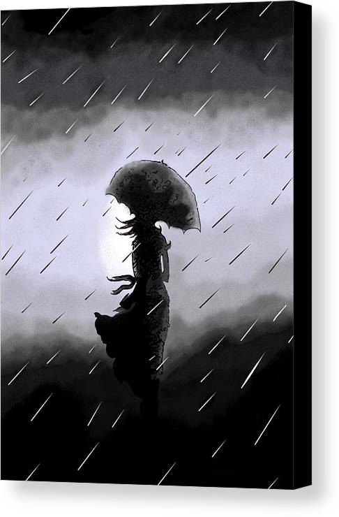 Rain Canvas Print featuring the digital art Waiting For Zen by Deborah Rolfe