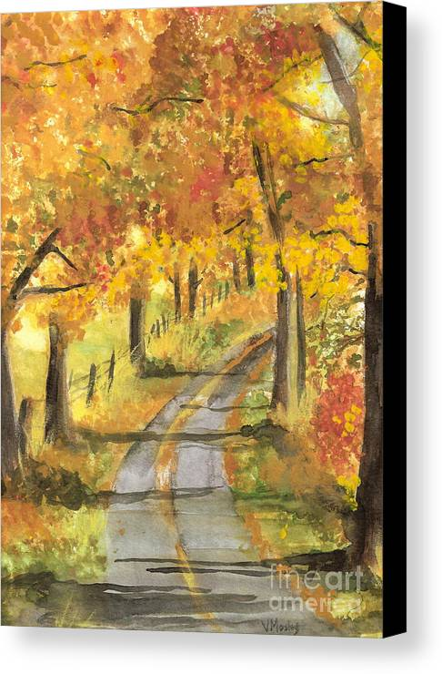 Fall Canvas Print featuring the painting Walkin by Vivian Mosley
