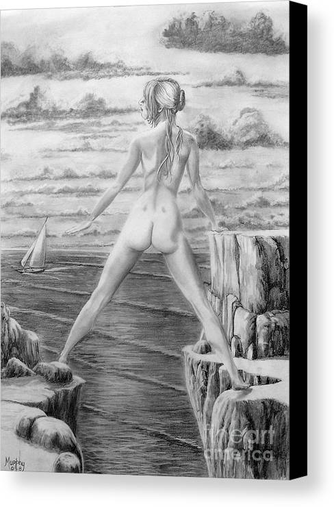 Nude Canvas Print featuring the drawing Wendy From Memory. by Murphy Elliott