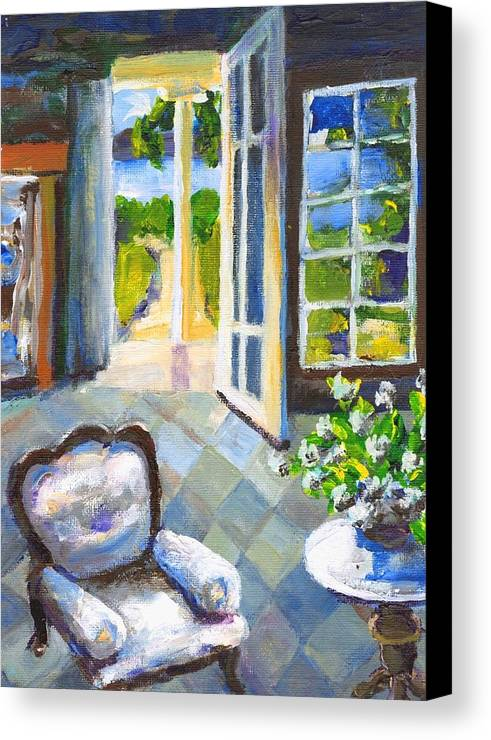 Nantucket Canvas Print featuring the painting White Chair Nantucket by Randy Sprout