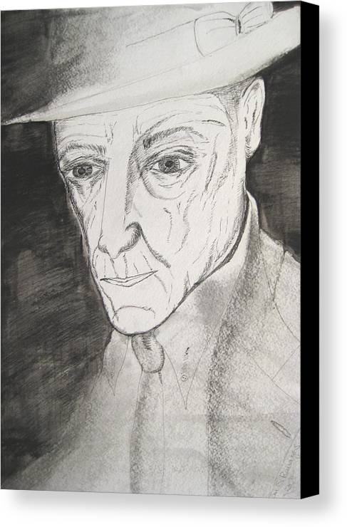 23 Author Black Burroughs Enigma Ink Man Music Painting Portrait Revolutionary Watercolor William Canvas Print featuring the painting William S. Burroughs by Darkest Artist