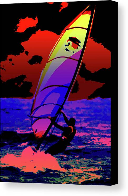 Abstract Canvas Print featuring the mixed media Windsurfer by Brian Roscorla