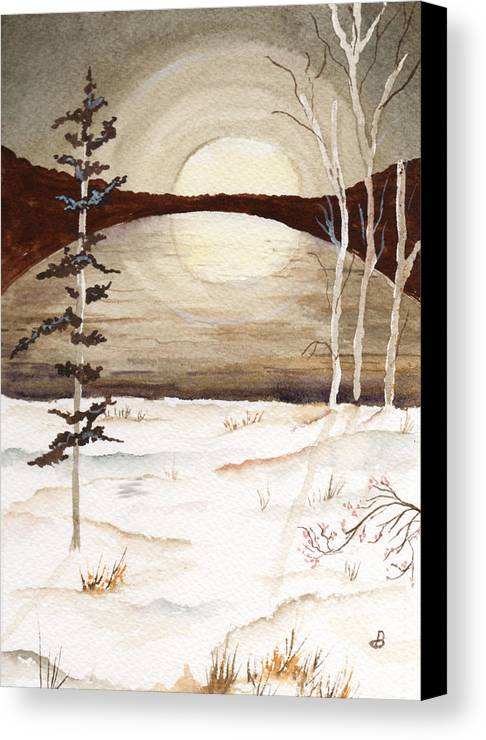 Watercolor Canvas Print featuring the painting Winter Apex by Brenda Owen