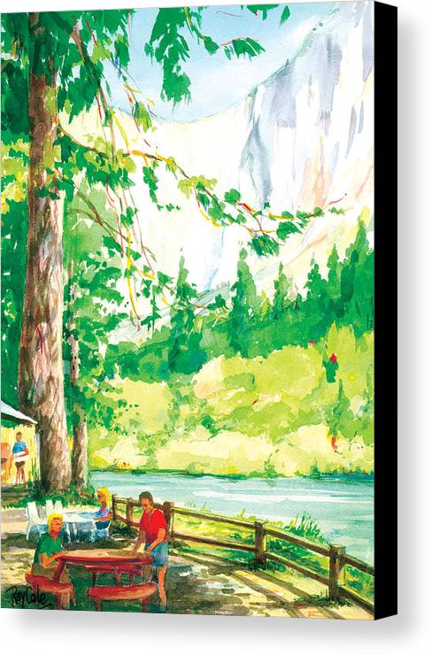 Yosemite Canvas Print featuring the painting Yosemite Picnic by Ray Cole