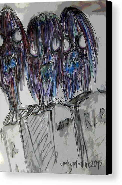Zombie Canvas Print featuring the drawing Zombie Trio by Mimulux patricia No