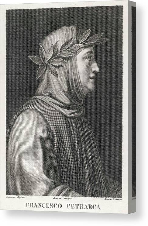 Petrarch Canvas Print featuring the drawing Francesco Petrarch Italian Poet by Mary Evans Picture Library