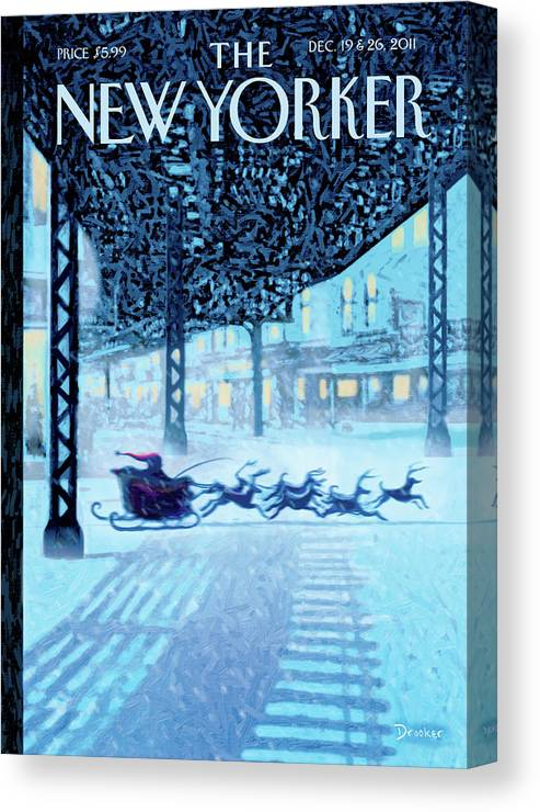 Santa Canvas Print featuring the painting New Yorker December 19th, 2011 by Eric Drooker