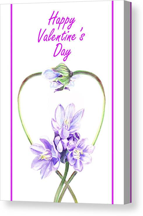 Purple Canvas Print featuring the painting Happy Valentines Day by Irina Sztukowski