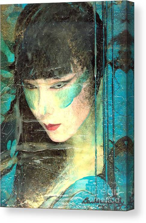 Oriental Canvas Print featuring the painting And She Waits by Barbara Lemley