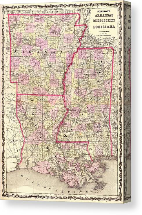 Antique Map Of Arkansas Mississippi And Louisiana Canvas Print
