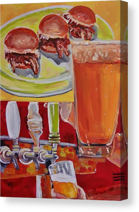 Beer On Tap Canvas Print featuring the painting Beer And Pork Sliders by Shannon Lee