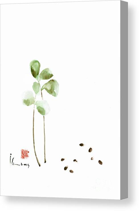Szmerdt Canvas Print featuring the painting Coffee Cafe Plant And Beans Brown Green Watercolor Painting Kitchen Art by Mariusz Szmerdt