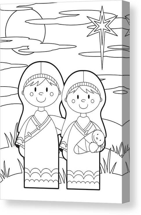 Colour In Mary Joseph & Baby Jesus Canvas Print