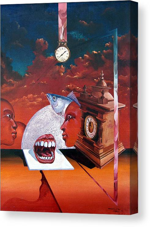 Otto+rapp Surrealism Surreal Fantasy Time Clocks Watch Consumption Canvas Print featuring the painting Consumption Of Time by Otto Rapp