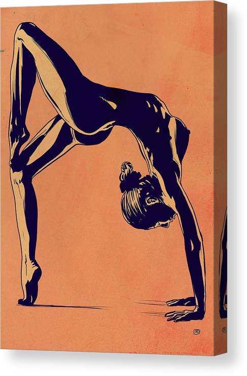 Flip Canvas Print featuring the drawing Contortionist by Giuseppe Cristiano