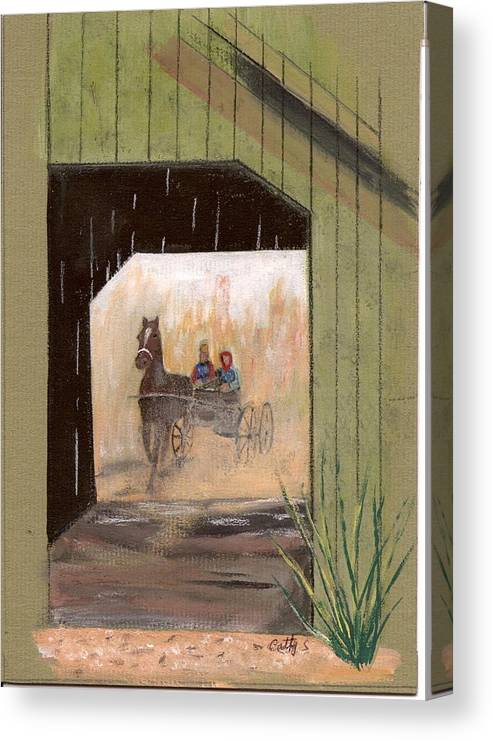 Bridges Canvas Print featuring the painting Covered Bridge by Catherine Swerediuk