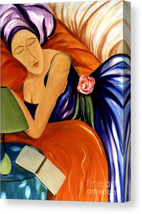 #female Canvas Print featuring the painting Dream by Jacquelinemari