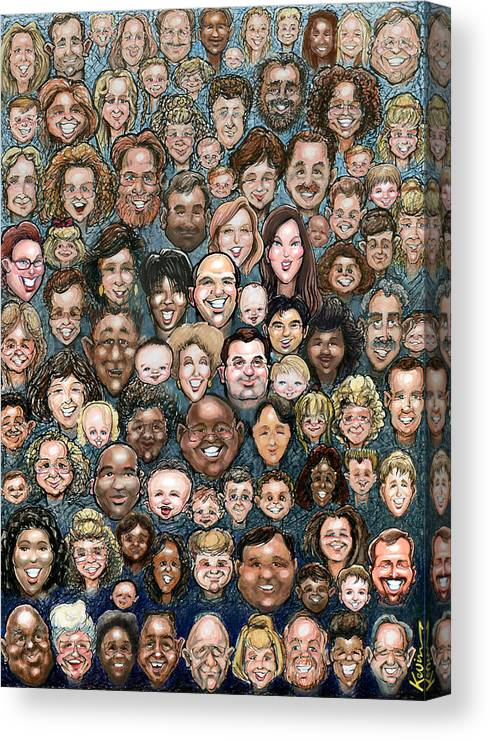 Face Canvas Print featuring the digital art Faces Of Humanity by Kevin Middleton