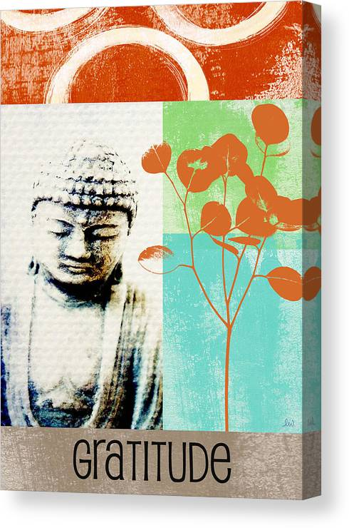 Gratitude Greeting Card Canvas Print featuring the painting Gratitude Card- Zen Buddha by Linda Woods