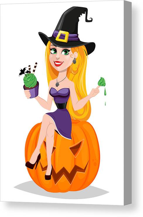 People Canvas Print featuring the drawing Halloween Greeting Card.  Beautiful Lady Witch Wearing Pilgrim Hat d8ed7e5ea7c