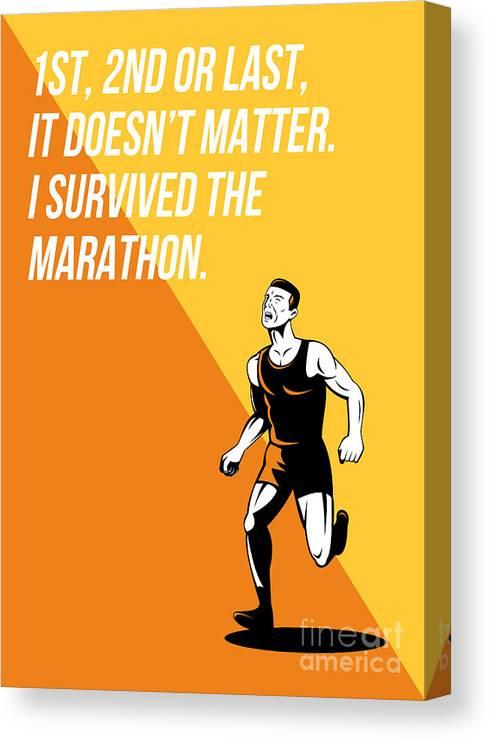 Poster Canvas Print featuring the digital art I Survived Marathon Runner Retro Poster by Aloysius Patrimonio