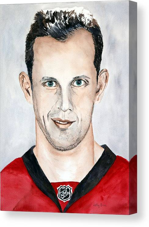 Nhl Canvas Print featuring the painting Jason Spezza by Betty-Anne McDonald