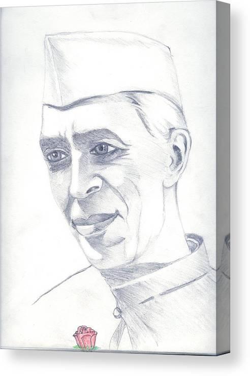 Jawaharl Lal Nehru Photos Canvas Print featuring the painting Jawaharlal Nehru by Tanmay Singh