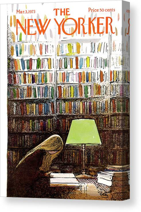 Library Canvas Print featuring the painting Late Night At The Library by Arthur Getz
