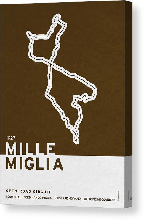 F1 Canvas Print featuring the digital art Legendary Races - 1927 Mille Miglia by Chungkong Art