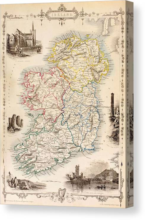 Map Of Ireland Print.Map Of Ireland From The History Of Ireland By Thomas Wright Canvas