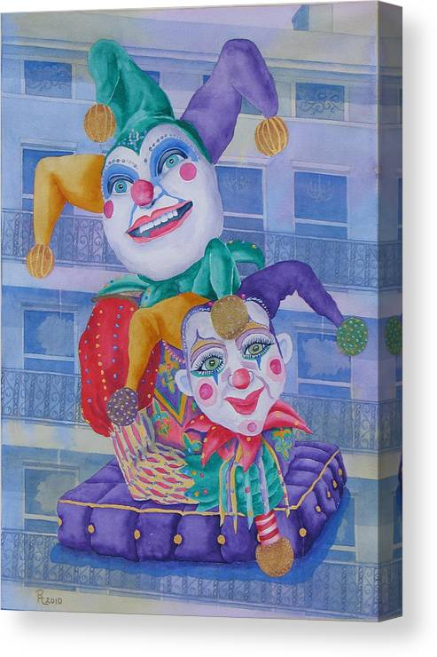 Jesters Canvas Print featuring the painting Mardi Gras Jesters by Rhonda Leonard
