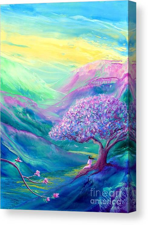 Spring Canvas Print featuring the painting Meditation In Mauve by Jane Small