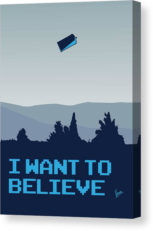 Classic Canvas Print featuring the digital art My I Want To Believe Minimal Poster- Tardis by Chungkong Art