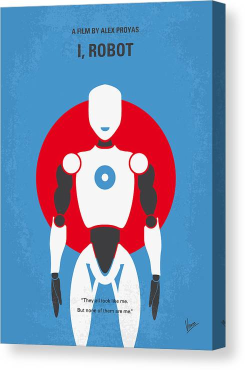 Robot Canvas Print featuring the digital art No275 My I Robot Minimal Movie Poster by Chungkong Art