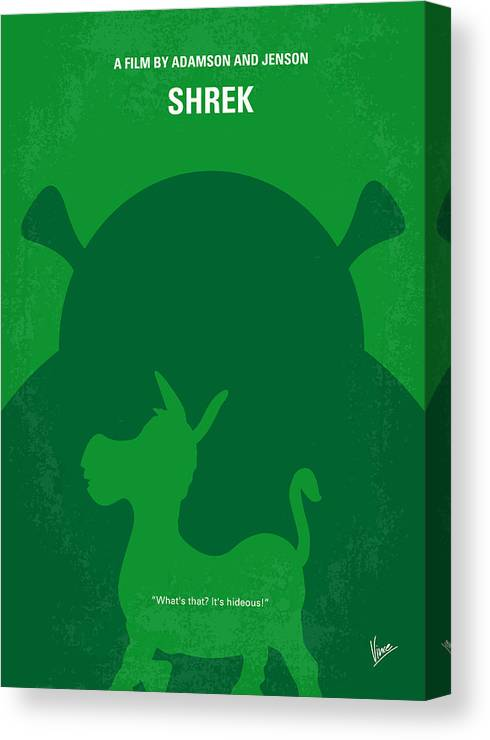 Shrek Canvas Print featuring the digital art No280 My Shrek Minimal Movie Poster by Chungkong Art
