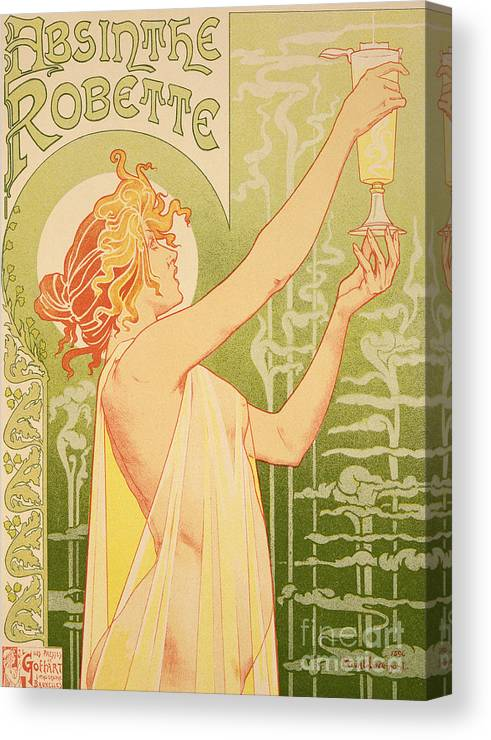 Advert; Advertisement; Alcohol; Liqueur; Alcoholic Drink; Beverage; Art Nouveau; Female; Holding Up A Glass Canvas Print featuring the painting Reproduction Of A Poster Advertising 'robette Absinthe' by Livemont