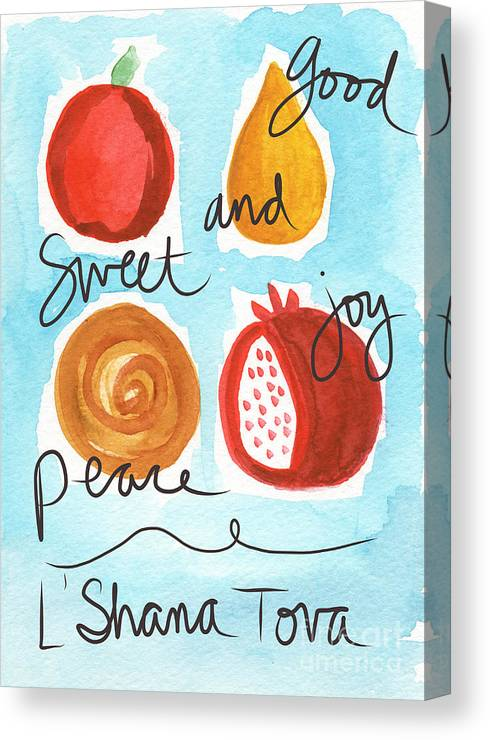Rosh Hashana Canvas Print featuring the painting Rosh Hashanah Blessings by Linda Woods