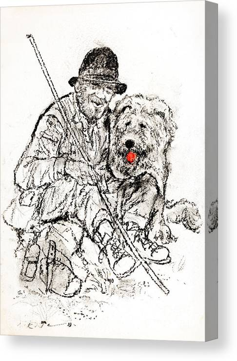 Shepherd Canvas Print featuring the drawing Shepherd With Dog by Kurt Tessmann
