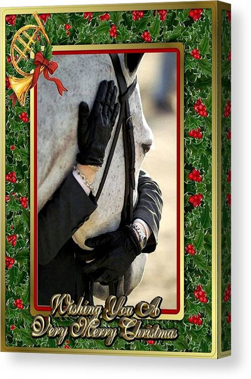 Show Horse English Blank Christmas Card Canvas Print featuring the painting Show Horse English Blank Christmas Card by Olde Time Mercantile