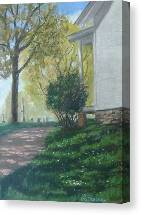 Cemetery Canvas Print featuring the painting The Caretaker's Cottage by Linda Preece