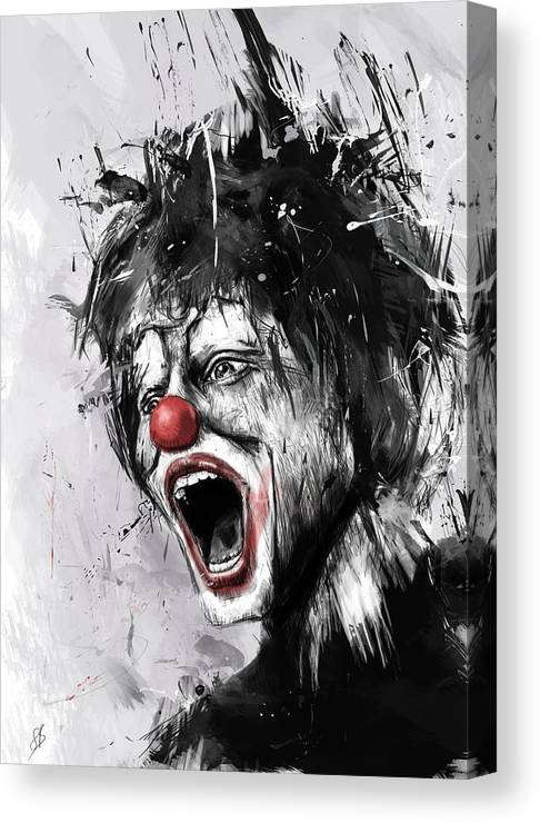 Clown Canvas Print featuring the mixed media The Clown by Balazs Solti