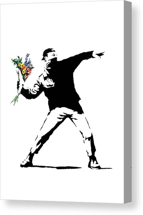 Banksy Canvas Print featuring the photograph Throwing Love by Munir Alawi