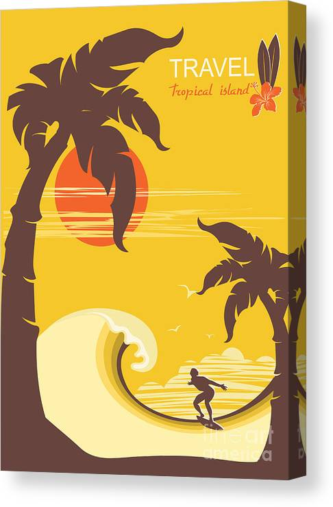 Surfboard Canvas Print featuring the digital art Tropical Paradise With Palms Island And by Tancha