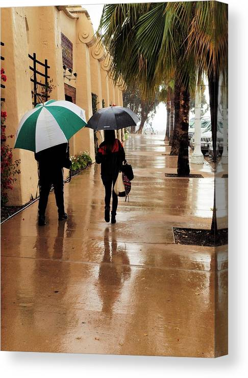 Rain Canvas Print featuring the photograph Walking In The Rain by Bill Grolz