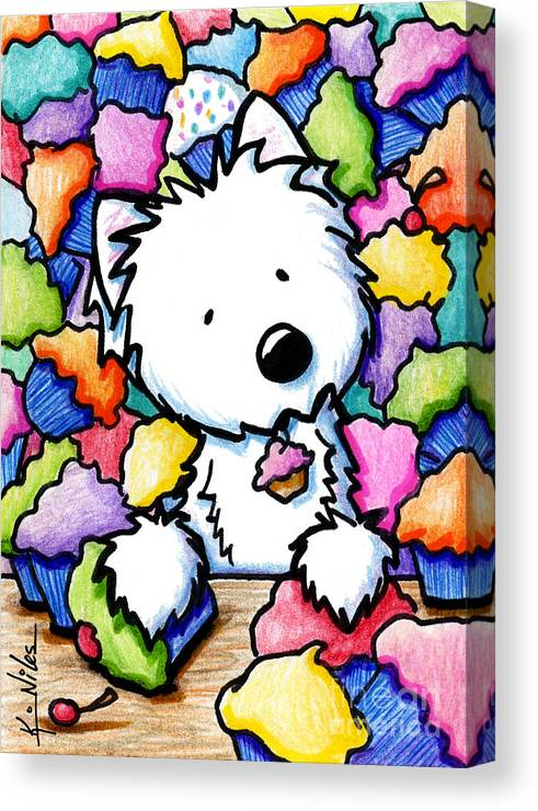 Westie Canvas Print featuring the drawing Cupcake Westie by Kim Niles
