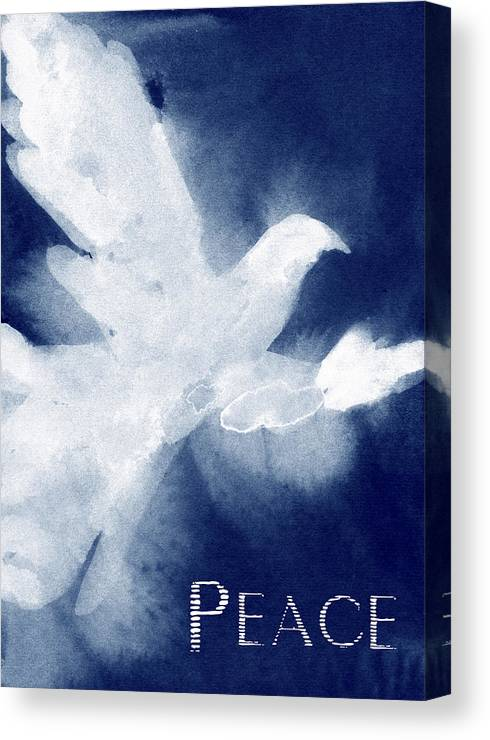 White Dove Canvas Print featuring the painting Dove Peace Holiday Card by Beverly Brown