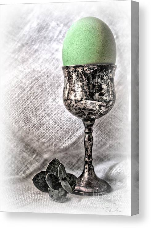 Green Colored Easter Eggs Canvas Print featuring the photograph Elegant Green Easter by Danuta Bennett